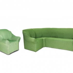 Угловой диван + 1 кресло Жаккард Зеленый (паркет)