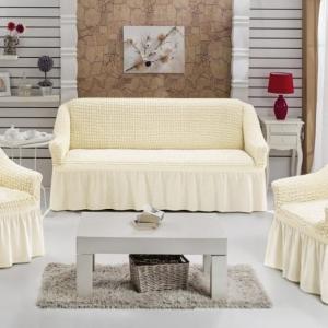 Комплект чехлов на 3-х местный диван и 2 кресла с оборкой Крем