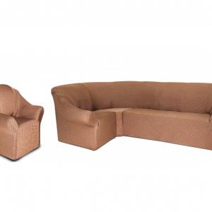 Угловой диван + 1 кресло Жаккард Бежевый (паркет)