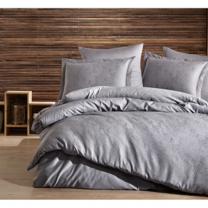 Комплект белья мако-сатин жаккардовый серый