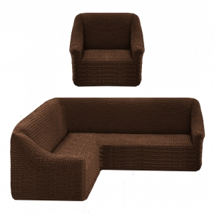 Чехол на угловой диван + 1 кресло Жатка Шоколад