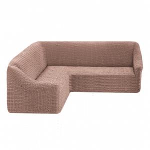 Чехол на угловой диван без оборки Какао