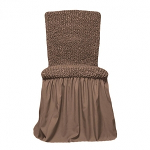 Чехол на стул с оборкой Серо-коричневый