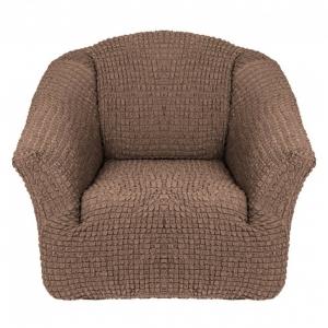 Чехол на кресло без оборки Серо-коричневый