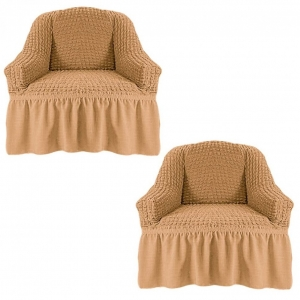 Чехол на кресло с оборкой Жатка Медовый