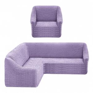 Чехол на угловой диван + 1 кресло Жатка Лаванда