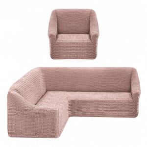 Чехол на угловой диван + 1 кресло Жатка Пудровый