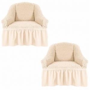 Чехол на кресло с оборкой Жатка Кремовый