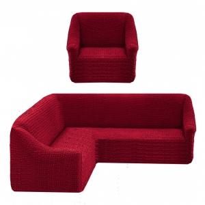Чехол на угловой диван + 1 кресло Жатка Бордовый