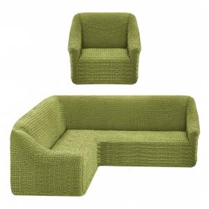Чехол на угловой диван + 1 кресло Жатка Оливковый