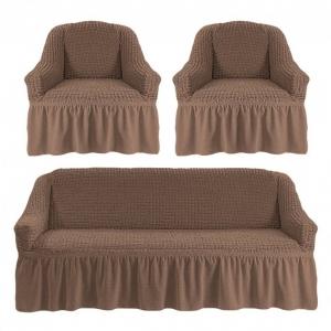 Комплект чехлов на 3-х местный диван и 2 кресла с оборкой Серо-коричневый
