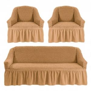 Комплект чехлов на 3-х местный диван и 2 кресла с оборкой Медовый