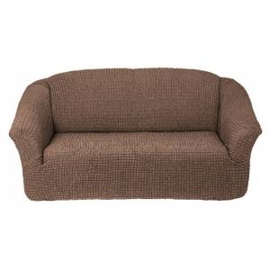 Чехол без оборки на 3-х местный диван Серо-коричневый