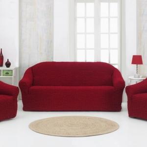 Комплект чехлов на 3-х местный диван и 2 кресла с оборкой Бордовый