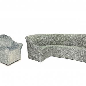 Угловой диван + 1 кресло Жаккард Серый