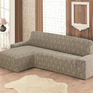 Чехол на угловой диван с оттоманкой жаккард Бежевый