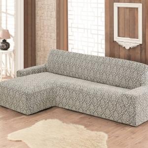 Комплект угловой диван + кресло Жаккардовый Бежевый