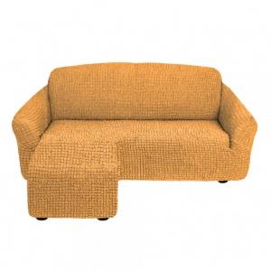 Чехол на угловой диван с оттоманкой левый угол Медовый