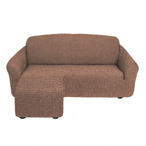 Чехол на угловой диван с оттоманкой левый угол Серо-коричневый